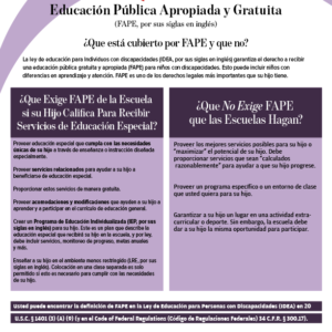 FAPE Tipsheet in Spanish