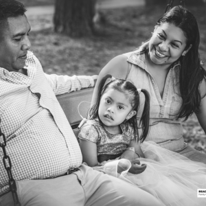 young girl sits in a swing with her family